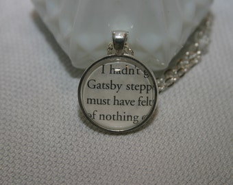 The Great Gatsby Book Page Pendant  Necklace Literary Jewelry Book Page Necklace Character Necklace