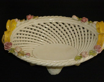 Vintage Italian Woven Dish with Four Feet Pattern with Flowers Dish Roses Stamped Italy Hand Painted
