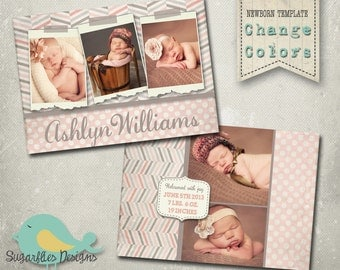 Baby Girl Announcement PHOTOSHOP TEMPLATE - Baby Girl Dream