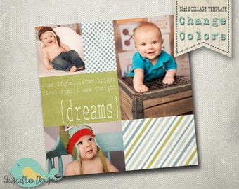 Photography Collage Template Blog Board 12x12 - Collage 3