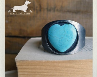 I Heart You. Cuff Bracelet -- (Love, Turquoise, Blue, Birthday Gift, Antiqued Silver, Simple, Rustic, Romantic, Vintage-Style, Under 30)