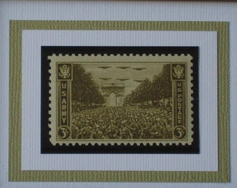 Honoring the US Army - Victory in France, 1944 - Vintage Framed Postage Stamp - No. 934, Version 1