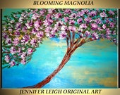 Original Large Abstract Painting Modern Contemporary Canvas Art Purple White BLOOMING MAGNOLIA Tree 36x24 Palette Knife Texture Oil J.LEIGH