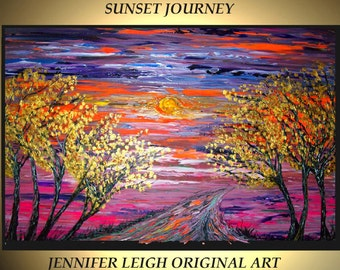 Original Large Abstract Painting Modern Contemporary Canvas Art Orange Gold Purple SUNSET JOURNEY 36x24 Palette Knife Texture Oil J.LEIGH