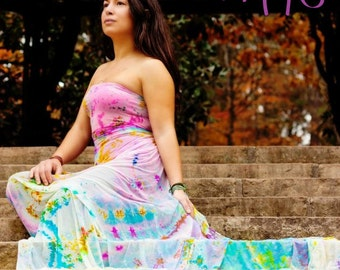 Stretch Wrap Dress Sarong Cover Up. Cascada de Noriza. Handpainted by Natalia Hacerola. Shot by Evan Whitney.