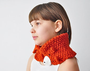 Cute FOX COWL Gift for Kids Wool Crochet Winter Teen Girl Cozy Ginger Red Forest Animals Winter Wonderland Woodland
