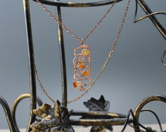 Sunset, copper wirewrap pendant, antiqued copper, figaro chain, carnelian, gifts to her, autumn, fall