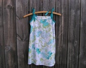 SALE...Size 3T/4T, Upcycled Girls Sundress Floral Teal