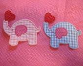 Valentine's elephant patch/ applique/ DIY/ elephant baby shower/ gingham elephant/