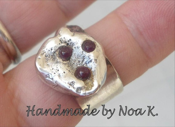 Ruby ring - Reticulated Silver stone Ring - Unique Ring - size 6