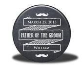 PERSONALIZED Father of the Groom Gift - Mirror, Magnet, Bottle Opener or Pin - Chalkboard
