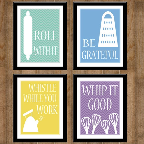 printable kitchen signs items similar to kitchen collection set of four 8x10 s 509