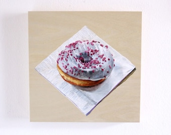 Original Painting Doughnut Still life, White Pink, Acrylic on Panel, 8 x 8 inches, by Heather McCaw Kerley