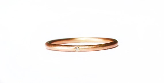 Rose gold simple diamond ring, 14k elegant thin diamond stacking ring. Simple engagement ring or wedding band, gift for her