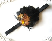 Black Feather Fascinator Headband Elastic Black Brown Feathers