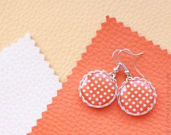 Orange polka dots earrings, polka dot jewelry, orange earrings, geometric jewelry, bohemian jewelry