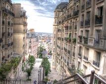 PARIS FRANCE STAIRS Photo Print French Style Street Montmarte Paris France Art