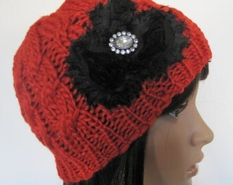 Red Cable Knit Beanie  with Black  Shabby Frayed Chiffon Flowers and   Rhinestone Accent