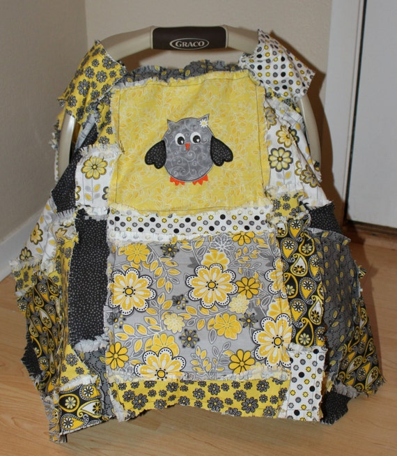 yellow grey owl baby car seat canopy cover rag by keishahster. Black Bedroom Furniture Sets. Home Design Ideas