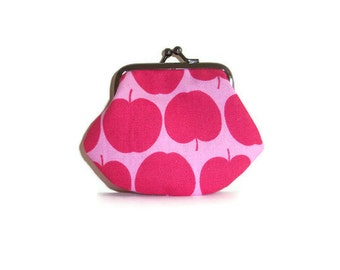 Little Coin Purse - Pink Apples from Kokka - kiss clasp frame- UK Seller