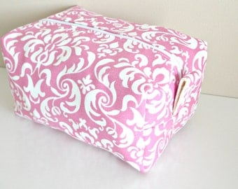 Pink Damask Makeup Bag  - Pink Cosmetic Pouch -  Lunch Bag - Wet Bag -Waterproof Bag