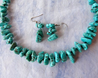 20 Inch Stabilized Turquoise Nugget Necklace with Earrings