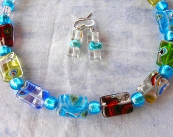 18 Inch Bling Lampwork Glass Rectangles Necklace with Earrings