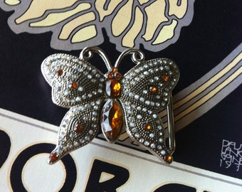 Vintage Silver Tone Amber Rhinestone Marcasite Looking Butterfly Belt Buckle