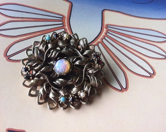 Vintage Gold Tone Faux Turquoise,Opal,Rhinestone,Pearl Brooch Pin