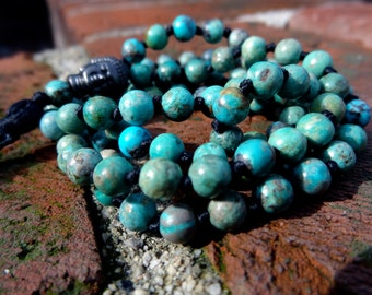 5-6mm Genuine Turquoise Knotted Mala Beads - Yoga Prayer Beads - Mantra Meditation