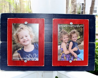Distressed Picture Frame, Boys Room, Rustic Frame, Navy Frame, Double 5x7 Frame