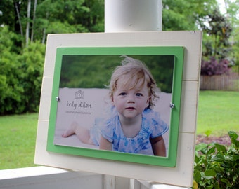 Distressed Picture Frame, Ivory Wood Picture Frame, Rustic Picture Frames, 11 x 14 Frame, Apple Green Frame