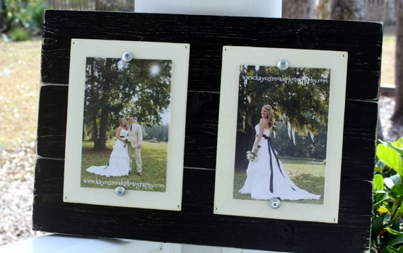 Distressed Picture Frame Double 4 x 6 Wood Picture Frame Black Rustic Frame