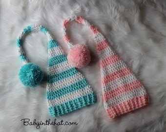 Newborn Striped Stocking Cap With Long Tail Twins Photo Prop Set