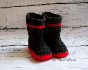 Newborn Baby Boots Crochet Fire Man Rain Shoes Photo Prop