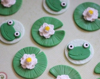 Fondant Frogs - Fondant Lily Pads Toppers - Fondant Princess - Fondant Prince - Fondant Froggy - Fondant Frog Cupcake Toppers - Frog Cake