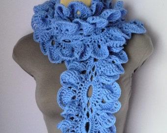 Crochet Scarf, Neckwarmer, Ruffle Scarf women blue, sjaal, bufanda, cachecol, sciarpa, Schal, foulard, echarpe