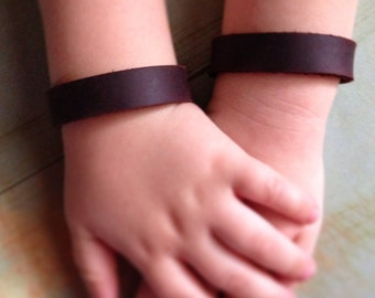 Leather Bangle Bracelets for Toddlers and Adults, custom made, Children's Jewelry, XS leather Bracelet
