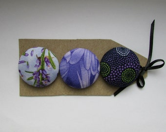 big blue and purple press buttons, 1 1/2 in covered buttons