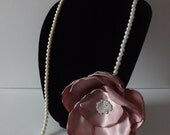Ivory Pearl Necklace Accented with Large Dusty Rose Pink Mauve Fabric FLOWER Design