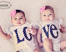 Twin Outfits for Twin Girls - Twin Matching LOVE Bodysuits, Includes Shabby Chic Pink Rhinestone Headbands