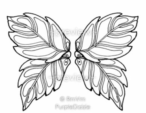 Coloring Book Printable Color Pages Digital Adult Butterfly Wings Fairy Wing Templates 3 PDF Files 24 Images Instant Download