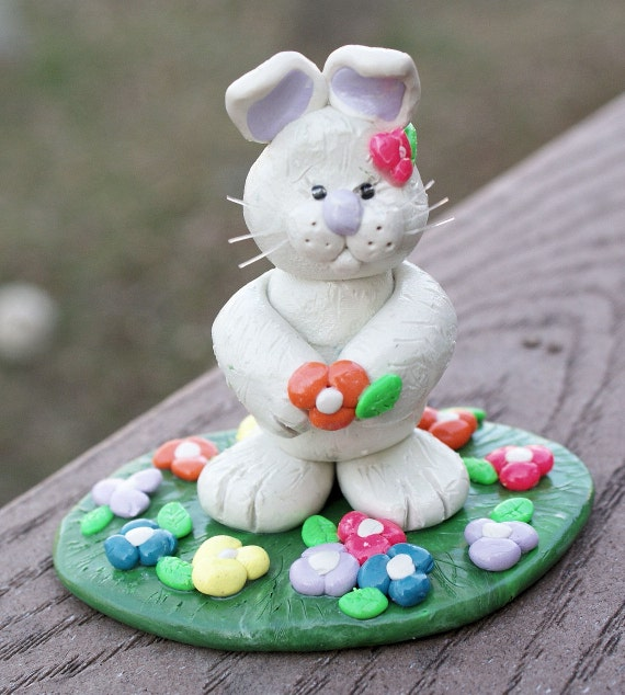 items similar to easter bunny sculpture polymer clay rabbit statue flowers art on etsy. Black Bedroom Furniture Sets. Home Design Ideas