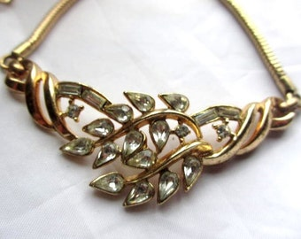 Trifari Necklace, Rhinestone, Pat Pend, 1950s Vintage Jewelry, Gift for Her, SALE
