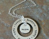 Personalized Hand Stamped Mother's Family Name Deluxe Mine for Eternity Necklace