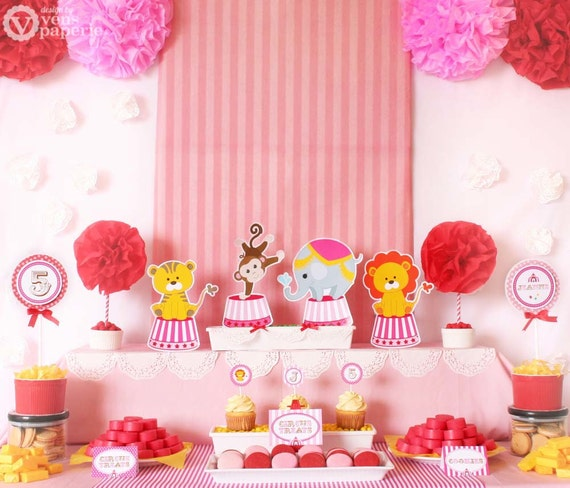 Vintage Pink Carnival Circus Birthday Party Package By