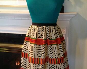 Green Yellow Orange African Ankara Mini Dress Knit Jersey