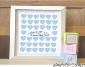 Baby Shower Guestbook Baby Hearts and birds  Guestbook   Print - Personalized Print - Nursery Print -(Includes Instruction card)