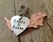 Dachshund Keychain Two Doxies with Custom Heart Tag
