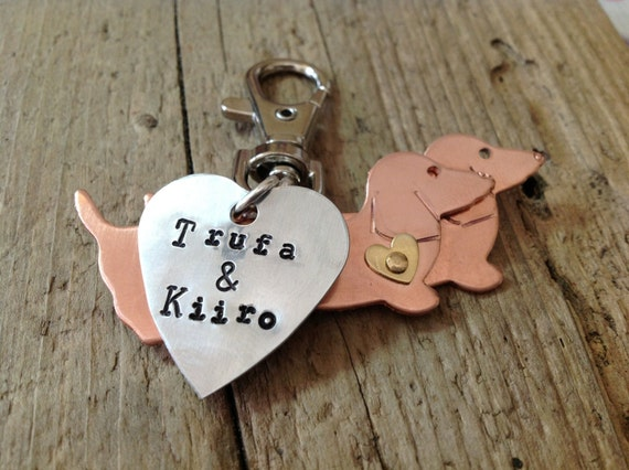 Dachshund Keychain Two Doxies with Custom Heart Tag